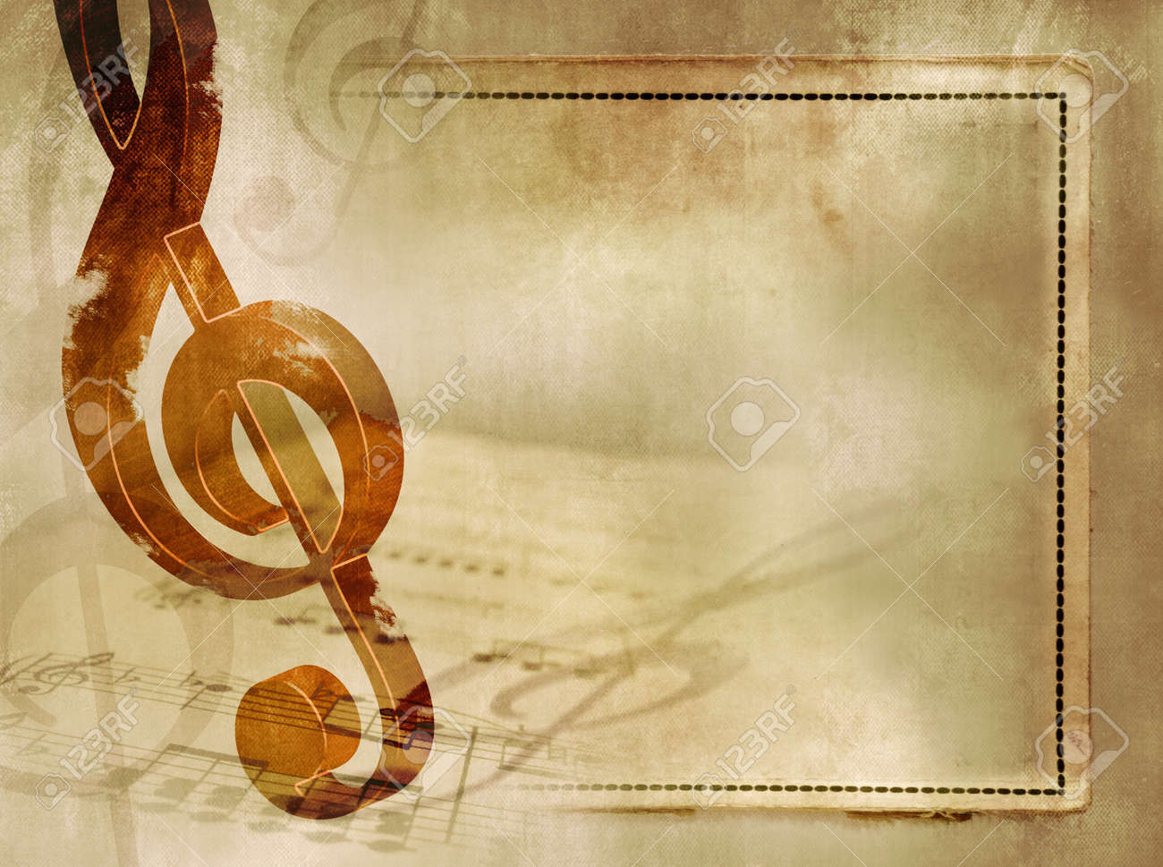 music background in vintage style sheet music with wooden treble clef and notes on old - Music Picture Frame