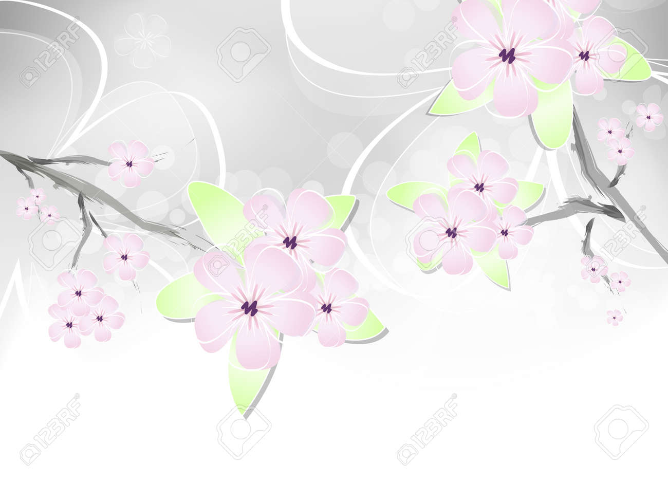 Spring Flower Background With Abstract Cherry Blossoms