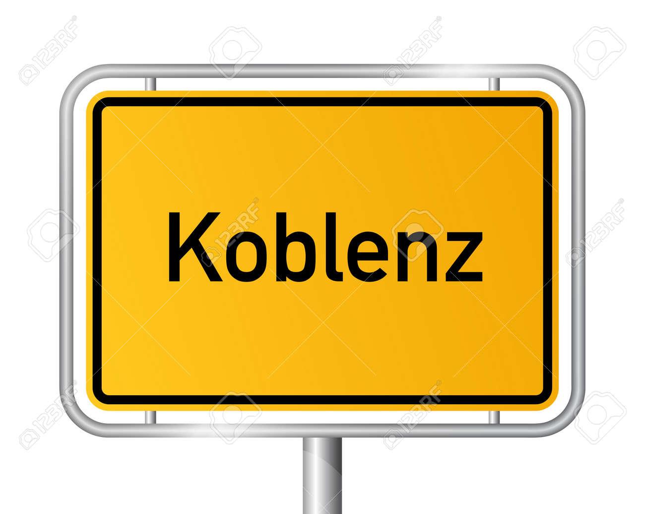 City limit sign Koblenz against white background - signage Coblenz - Rhineland Palatinate, Rheinland Pfalz, Germany Stock Vector - 17897944