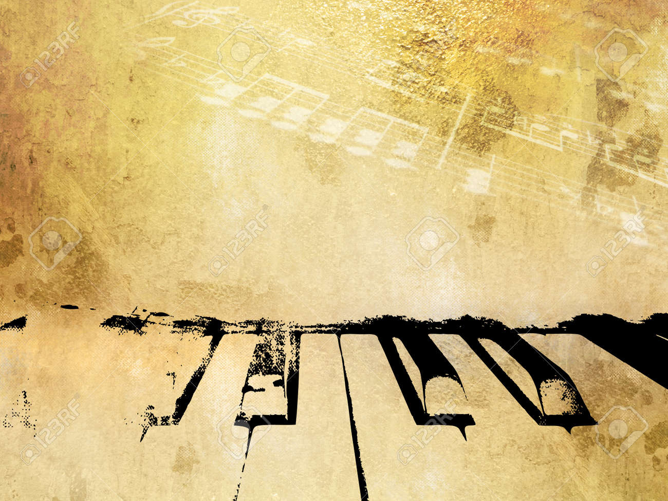 Grunge Music Background - Vintage Piano Design With Soft Light ...
