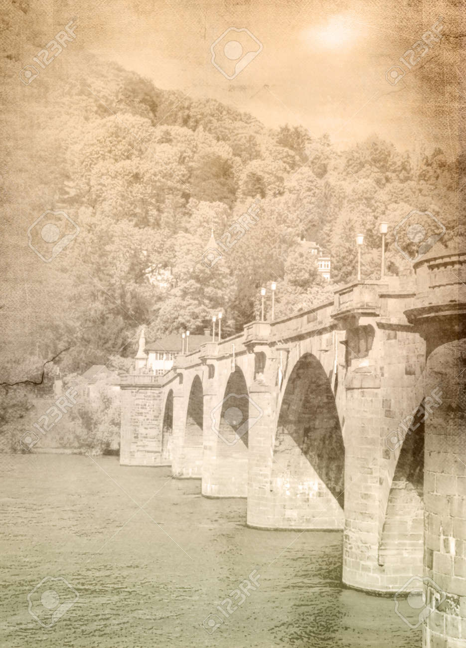Heidelberg old bridge Karl Theodor - vintage style picture Stock Photo - 20708386