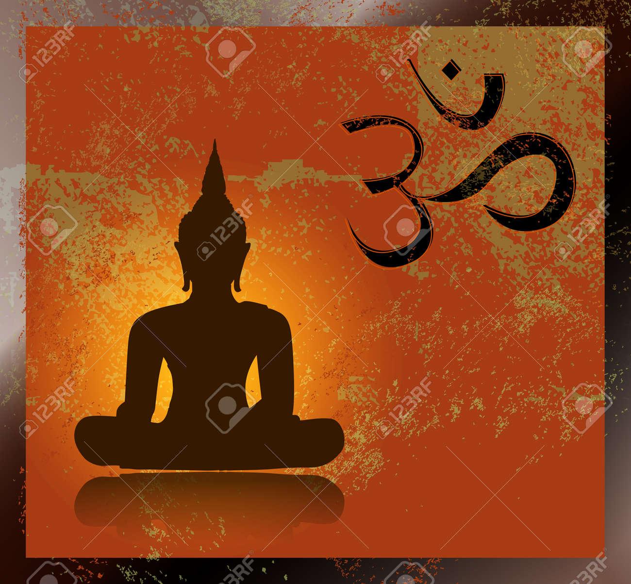 Buddha and om symbol Stock Vector - 27382876