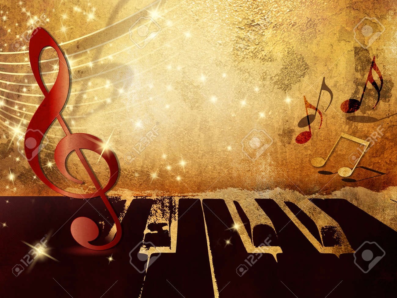 Music Background With Piano Keys Notes And Treble Clef Stock Photo