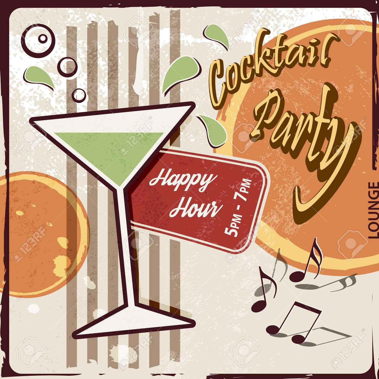 Retro party background with cocktail glass - Happy Hour drink - 36948190