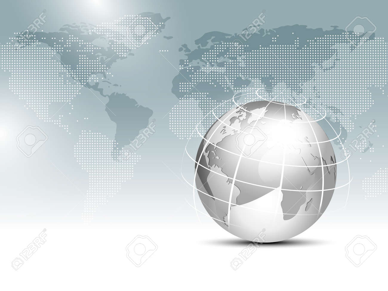 World map background with globe - global finance business template - 53541110