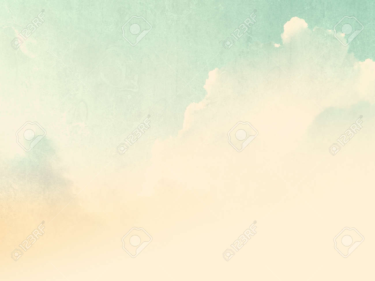 Vintage sky light beige green with soft pale watercolor texture - 53540874