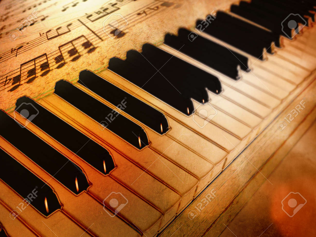 Vintage Piano Keys And Sheet Music With Drawing Effect Stock Photo