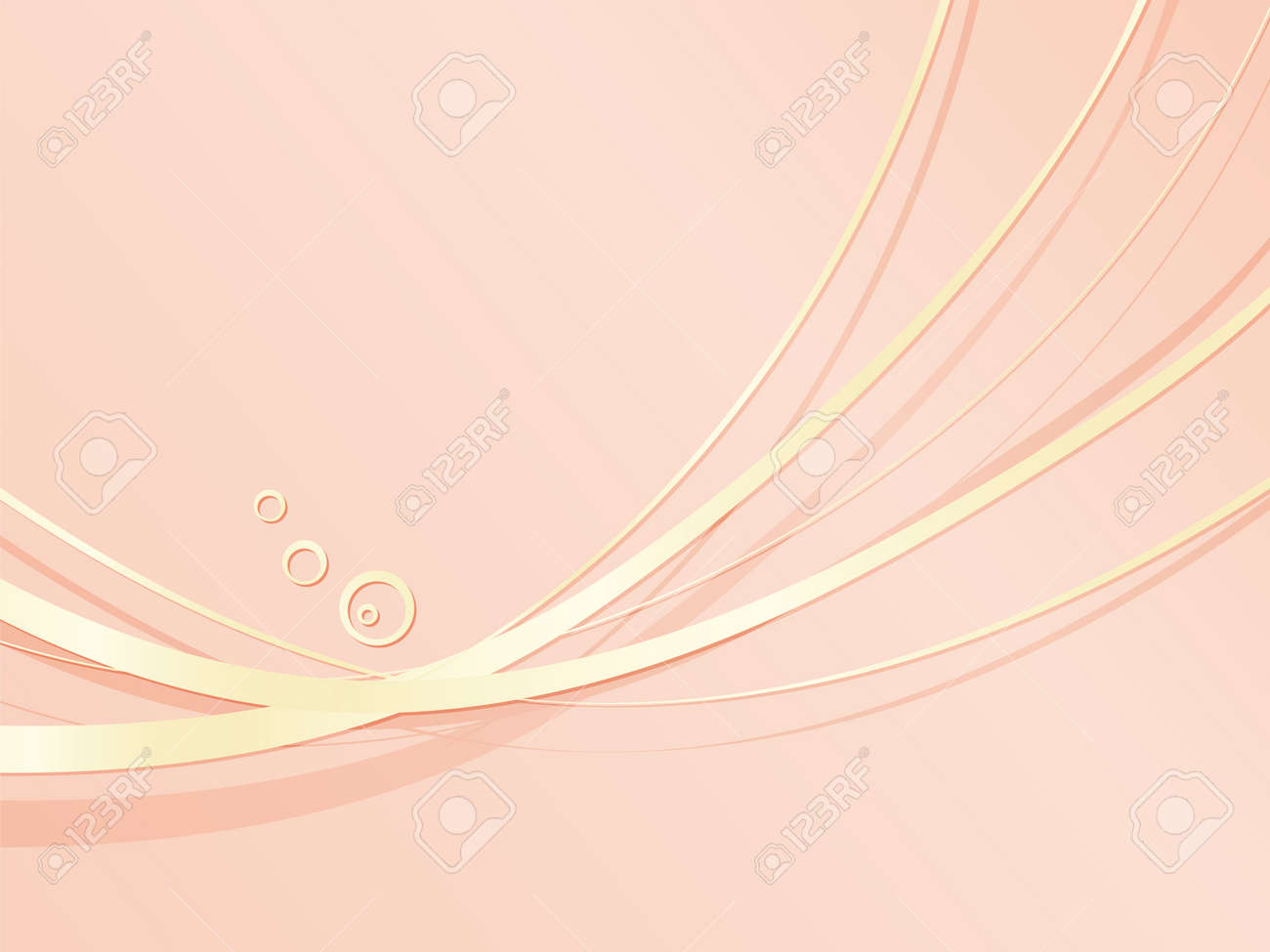 Coral Pink Background With Gold Wavy Metal Lines Abstract Elegant