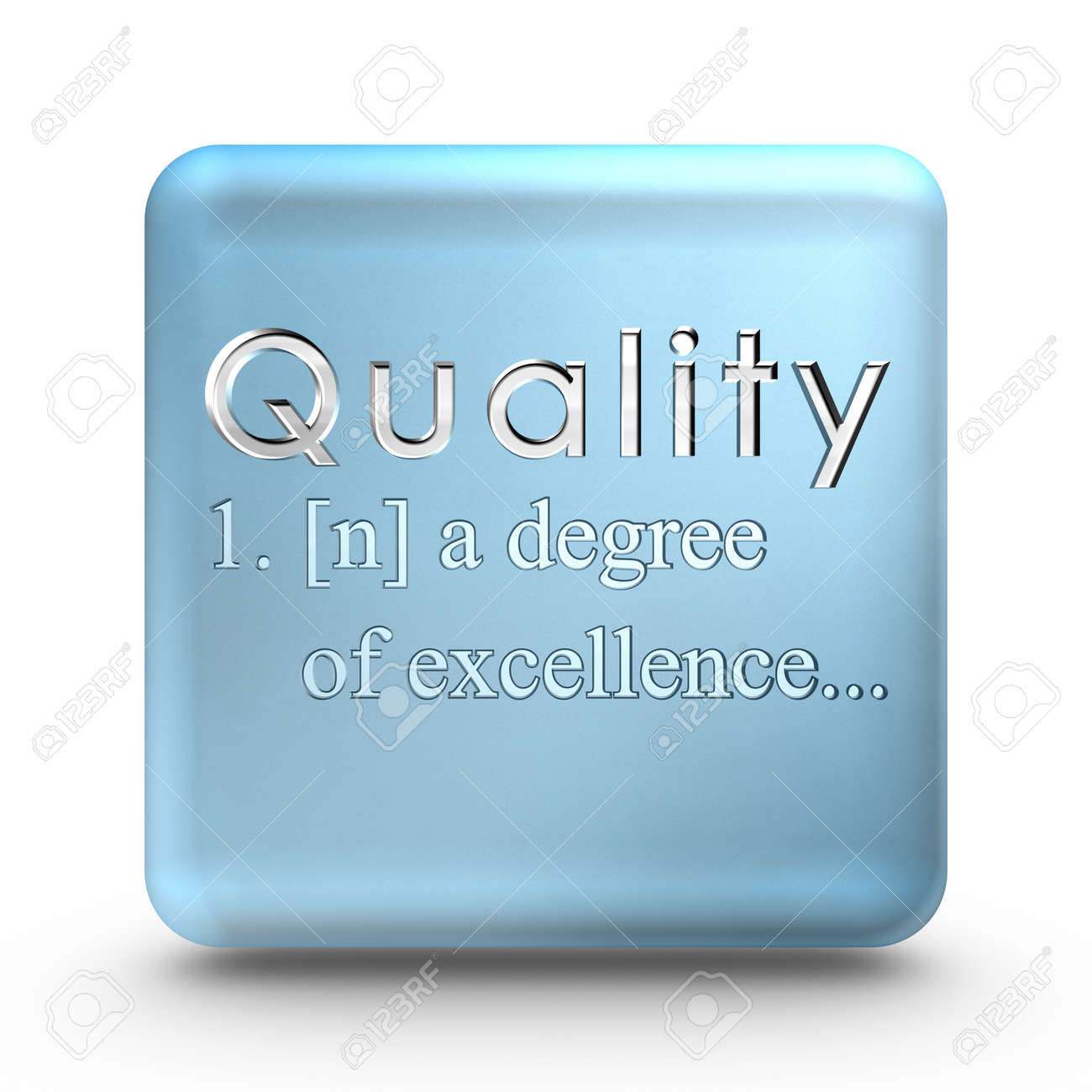 Quality definition engraved into a blue ice cube - 8395611