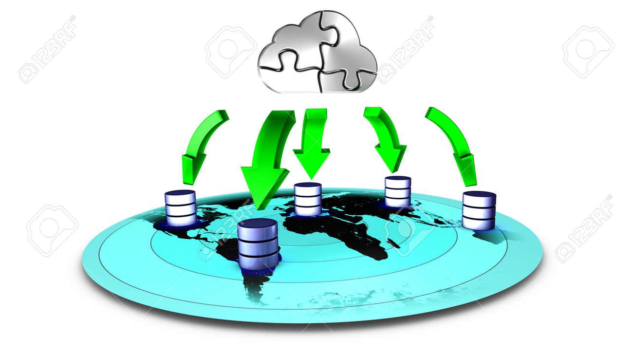 3d Illustration of database Cloud backup - 11791871