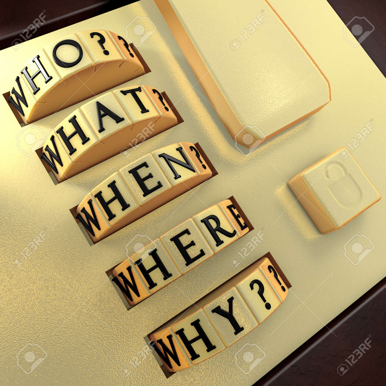 Five Ws: Who? What? Where? When? Why? Answer this question in order to unlock the suitcase - 12306063