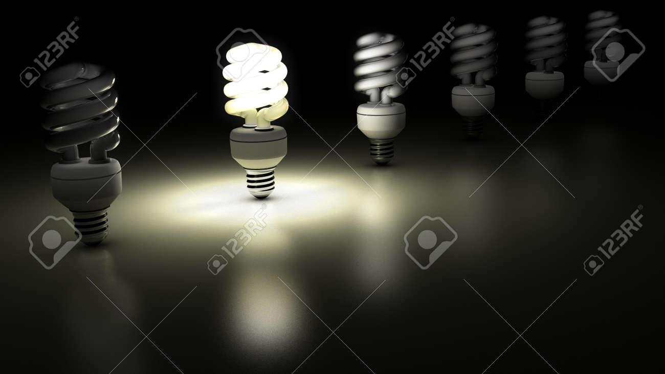 Le lampade fluorescenti compatte di fila one è lampada è