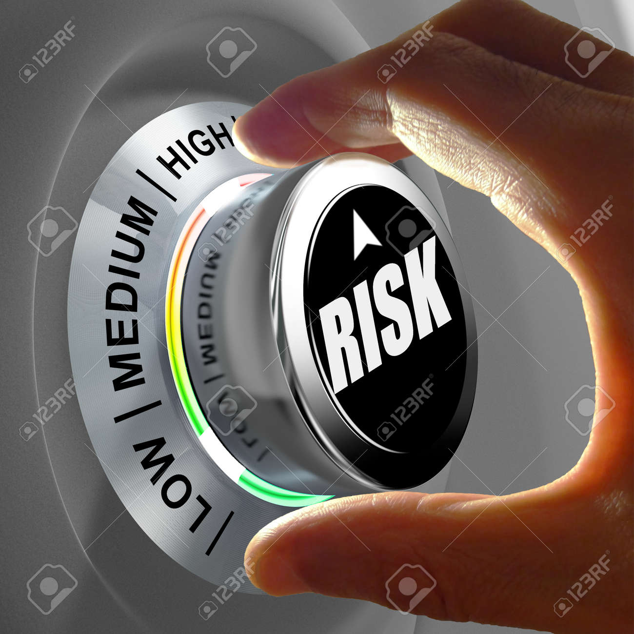 The button shows three levels of risk management. Concept illustration. - 32651640
