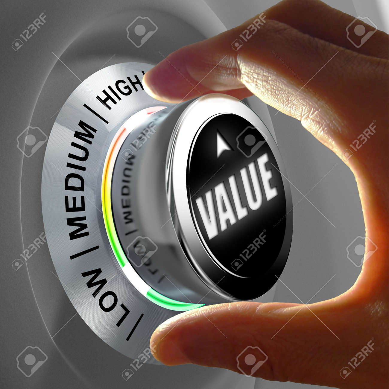 Hand adjusting a button that set a Value from low to high. Concept picture of the benefit provided by a good or a service. - 50628995