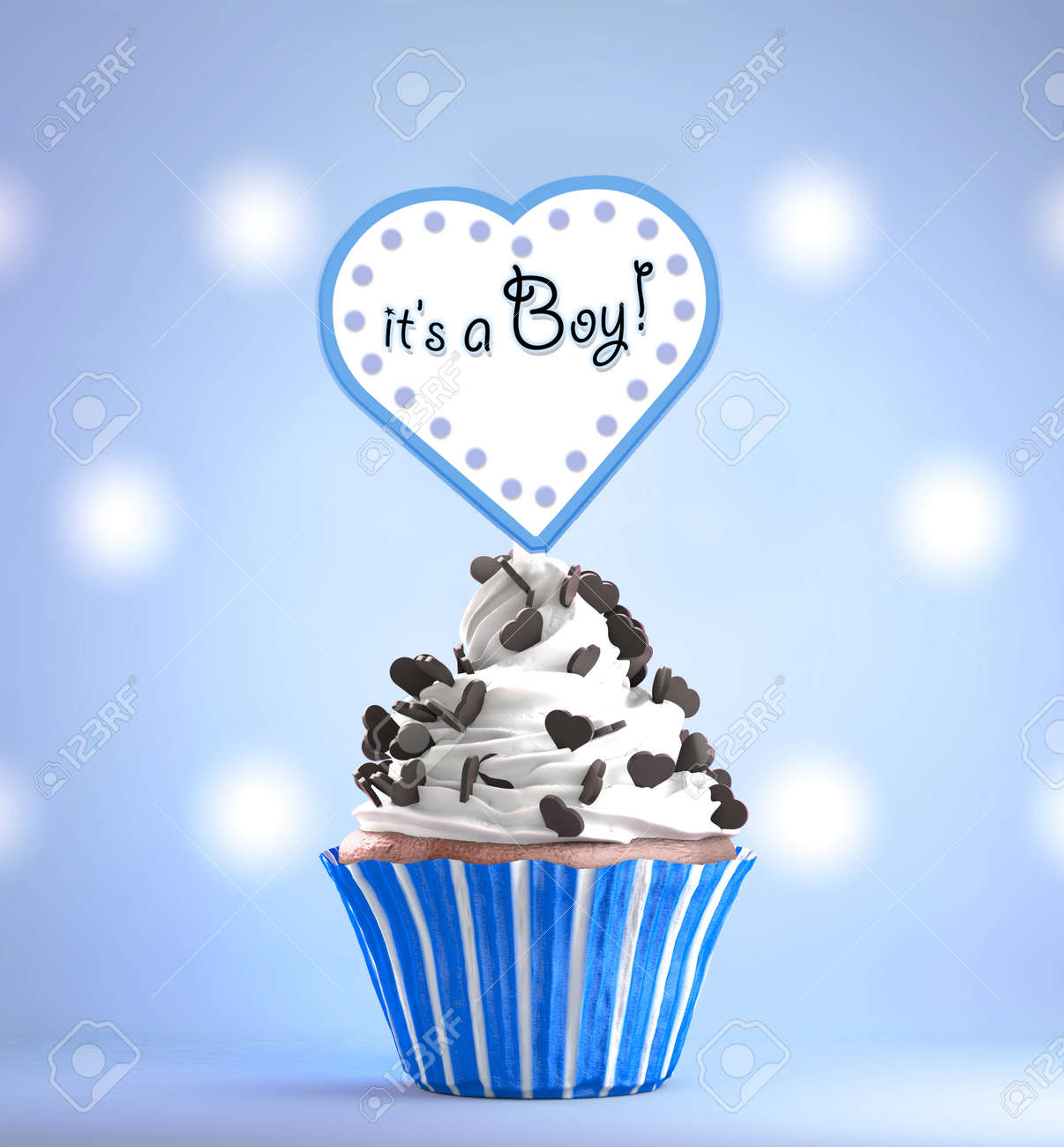 Newborn Baby Boy Card Message On A Delicious Cupcake With Chocolate