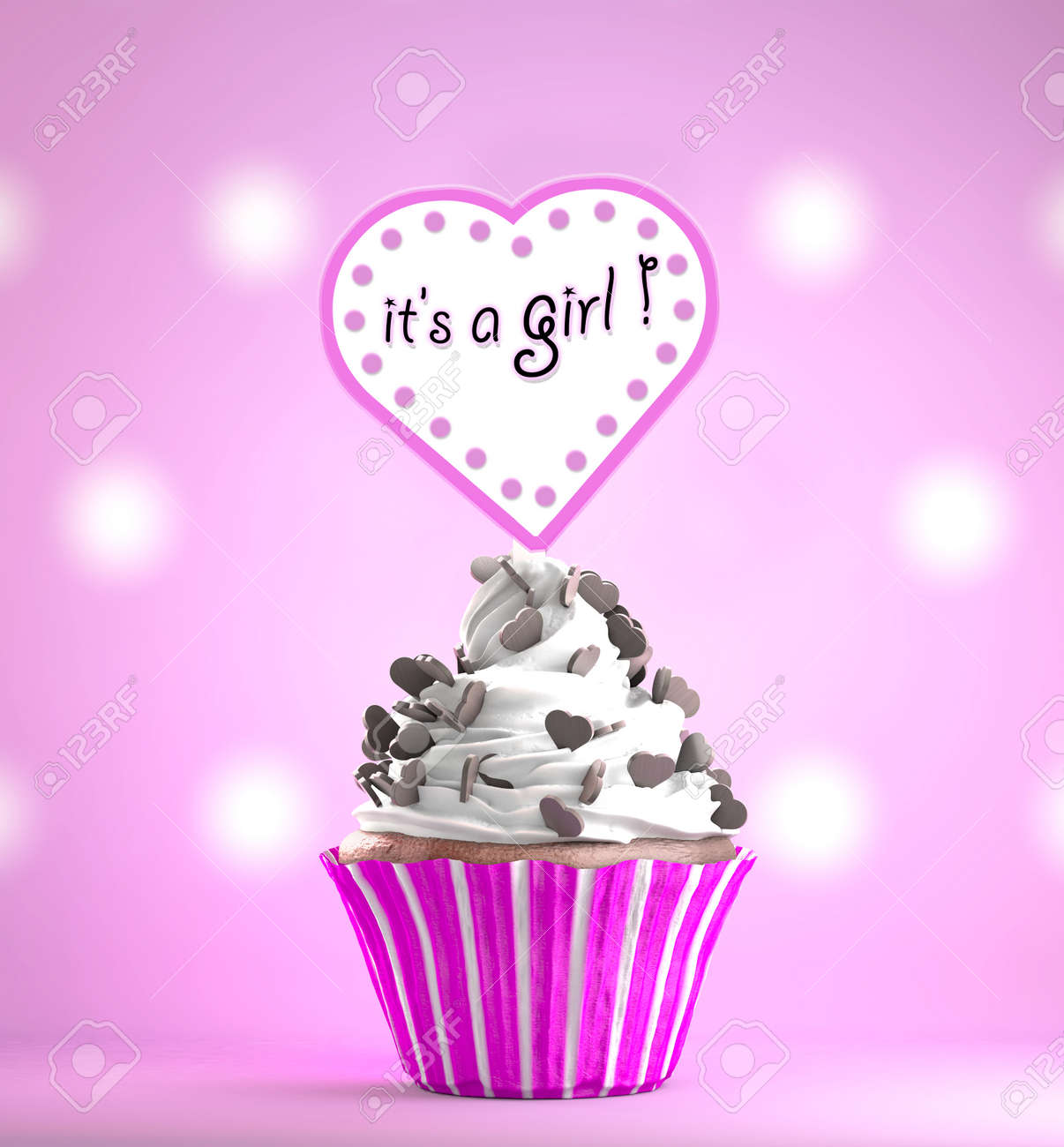newborn baby girl card message on a delicious cupcake with chocolate
