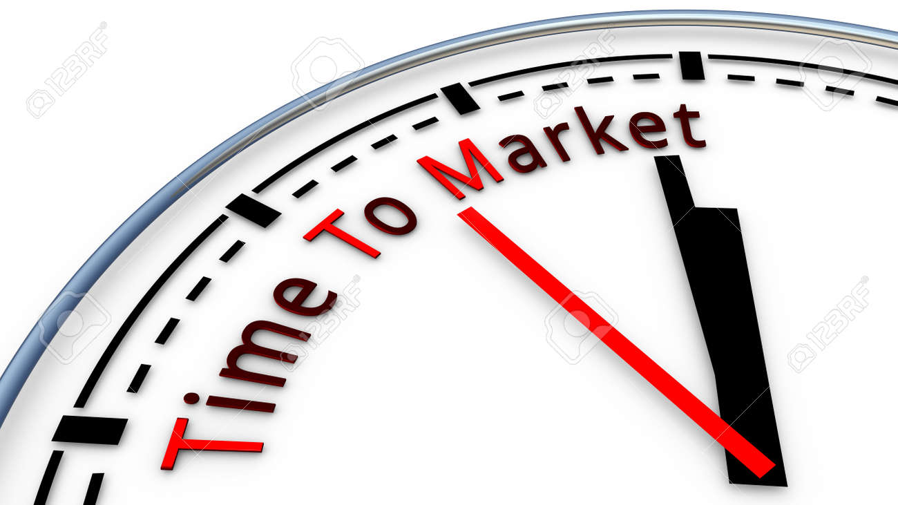 Picture of Time To Market clock concept. Time used to design a new product and bring it on the market - 50629000