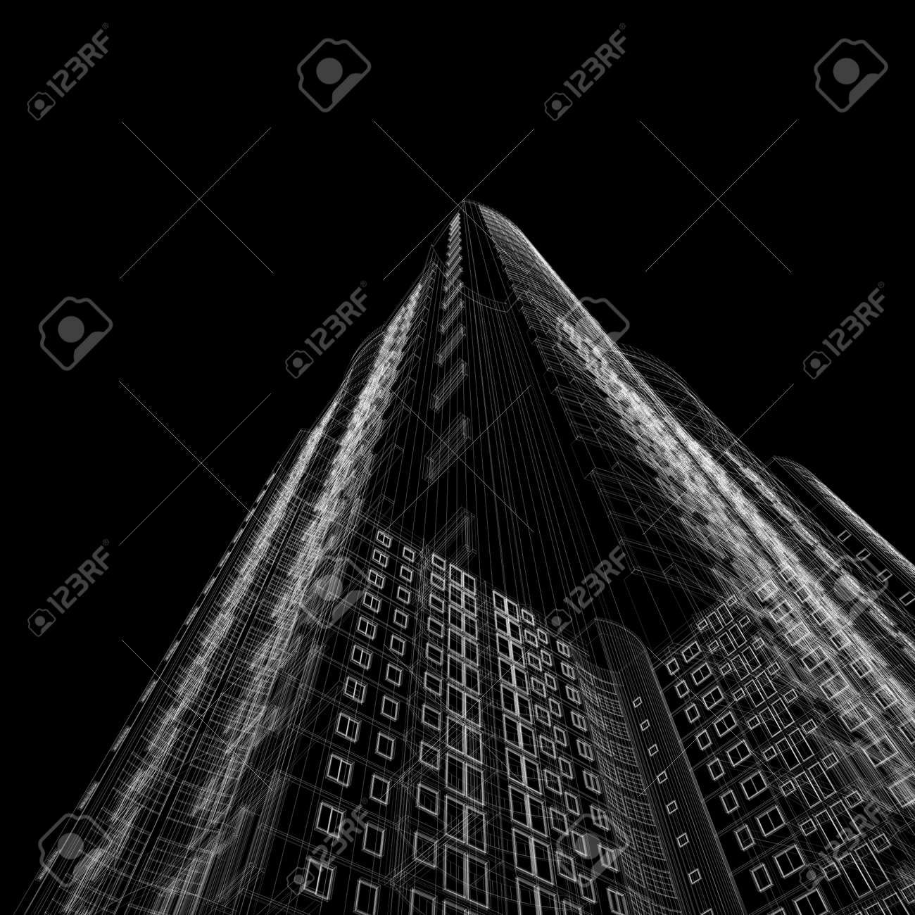 Architecture Blueprint Of Skyscraper On Black Background Stock