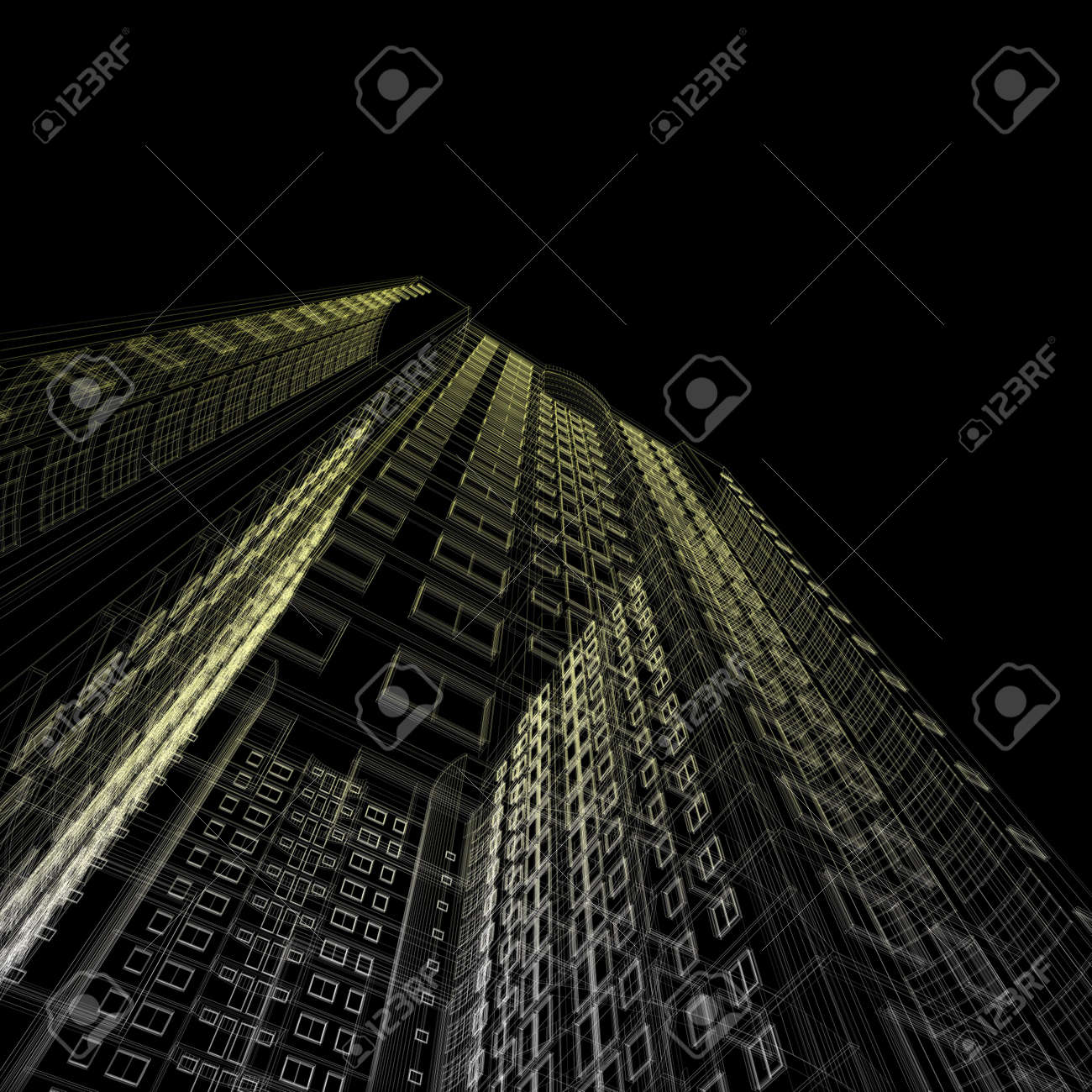 architecture blueprints skyscraper. Architecture Blueprint Of Skyscraper On Black Background Stock Photo - 5621805 Blueprints U