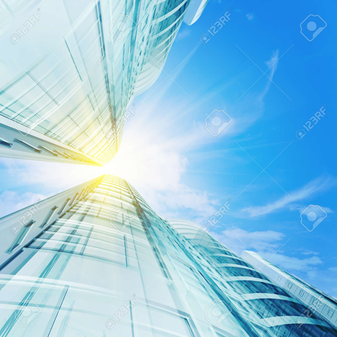 High skyscrapers under sky. 3d render Stock Photo - 8890578