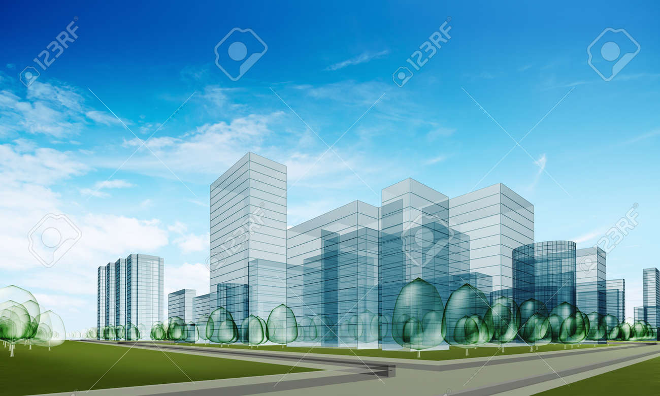 Abstract city. Transparent 3d render Stock Photo - 8890619