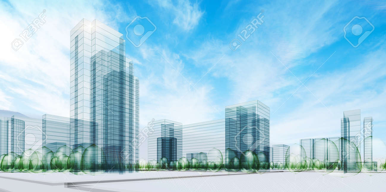 City under sky. Transparent 3d render Stock Photo - 9034305