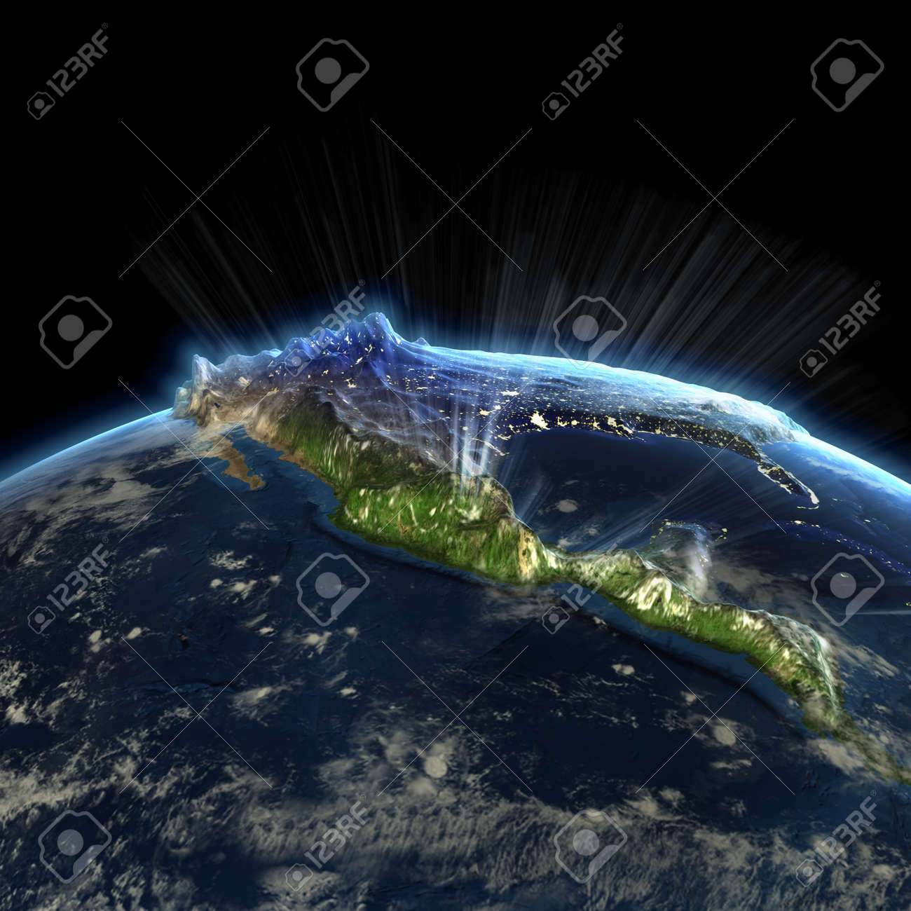 North America At Night Earth Map From Nasa Stock Photo Picture And