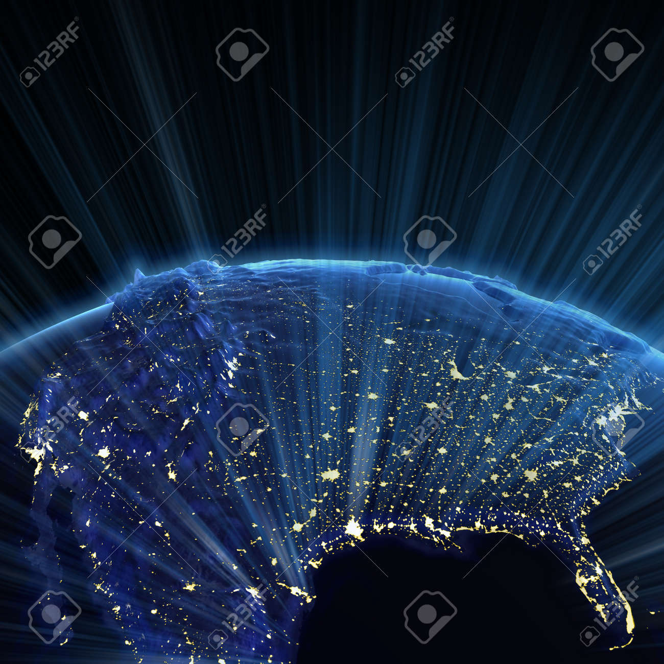USA And Canada City Lights. Earth Map From NASA Stock Photo
