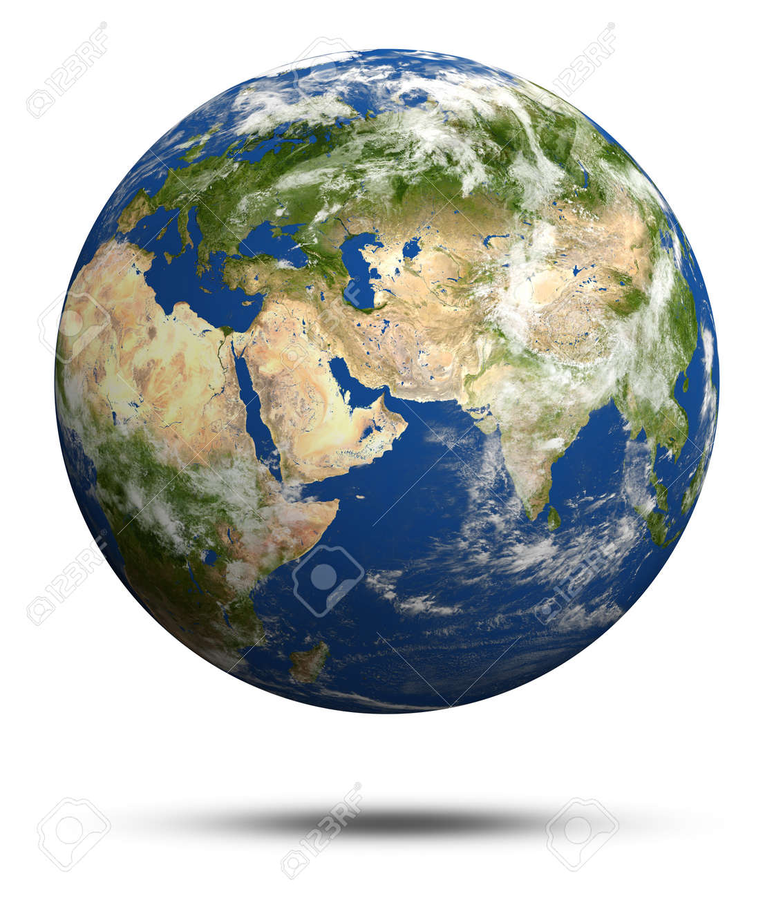 Planet Earth 3d Render. Earth Globe Model, Maps Courtesy Of NASA ...