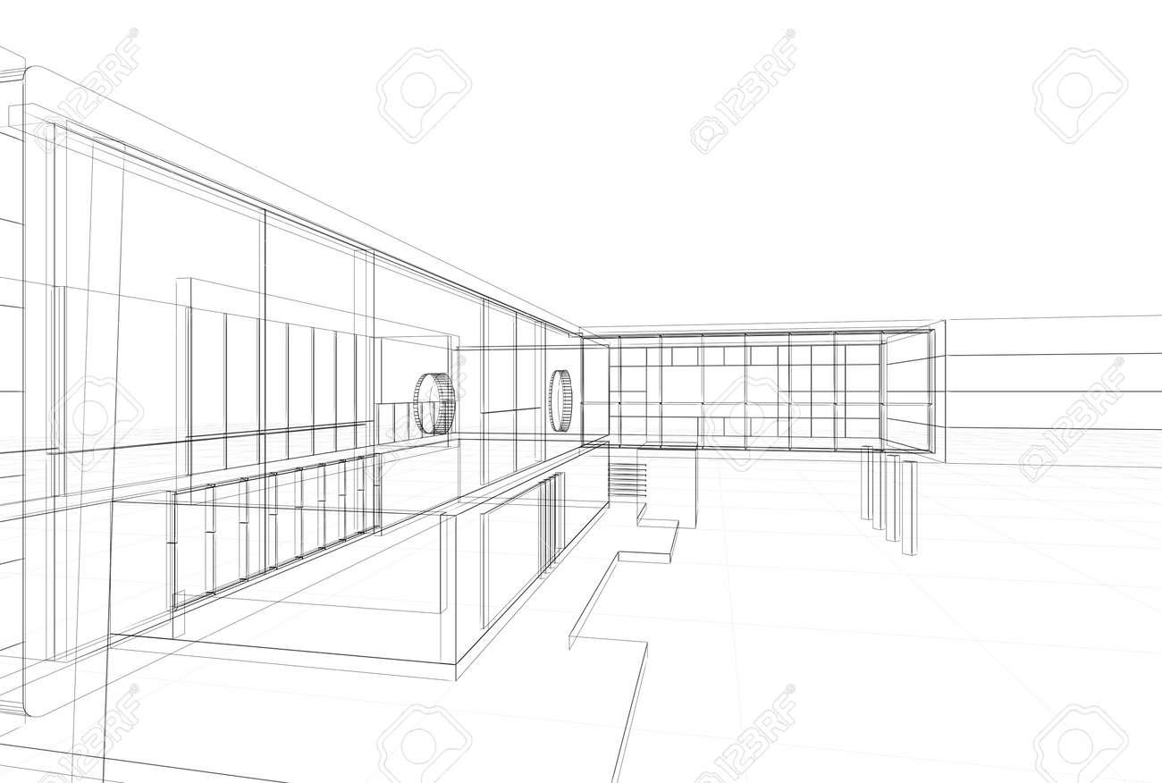 Architecture Blueprint On White Background Stock Photo