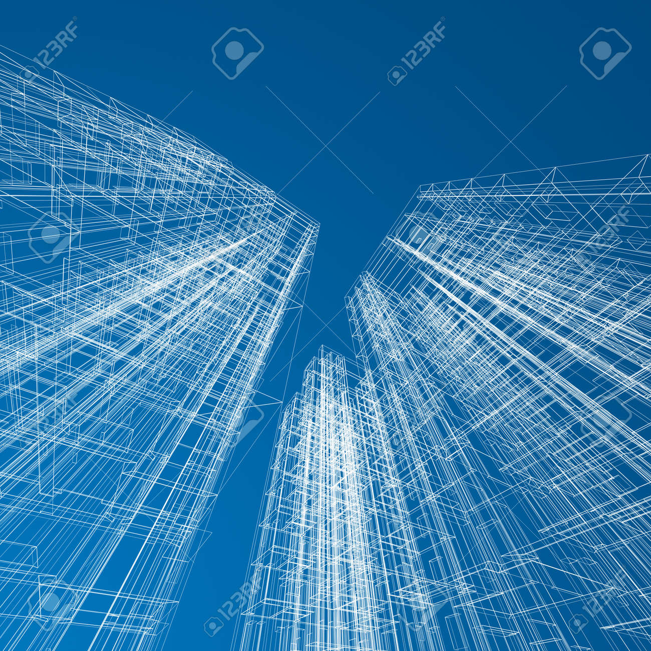 Concept skyscrapers blueprint architecture design and 3d model my own stock photo 17512464
