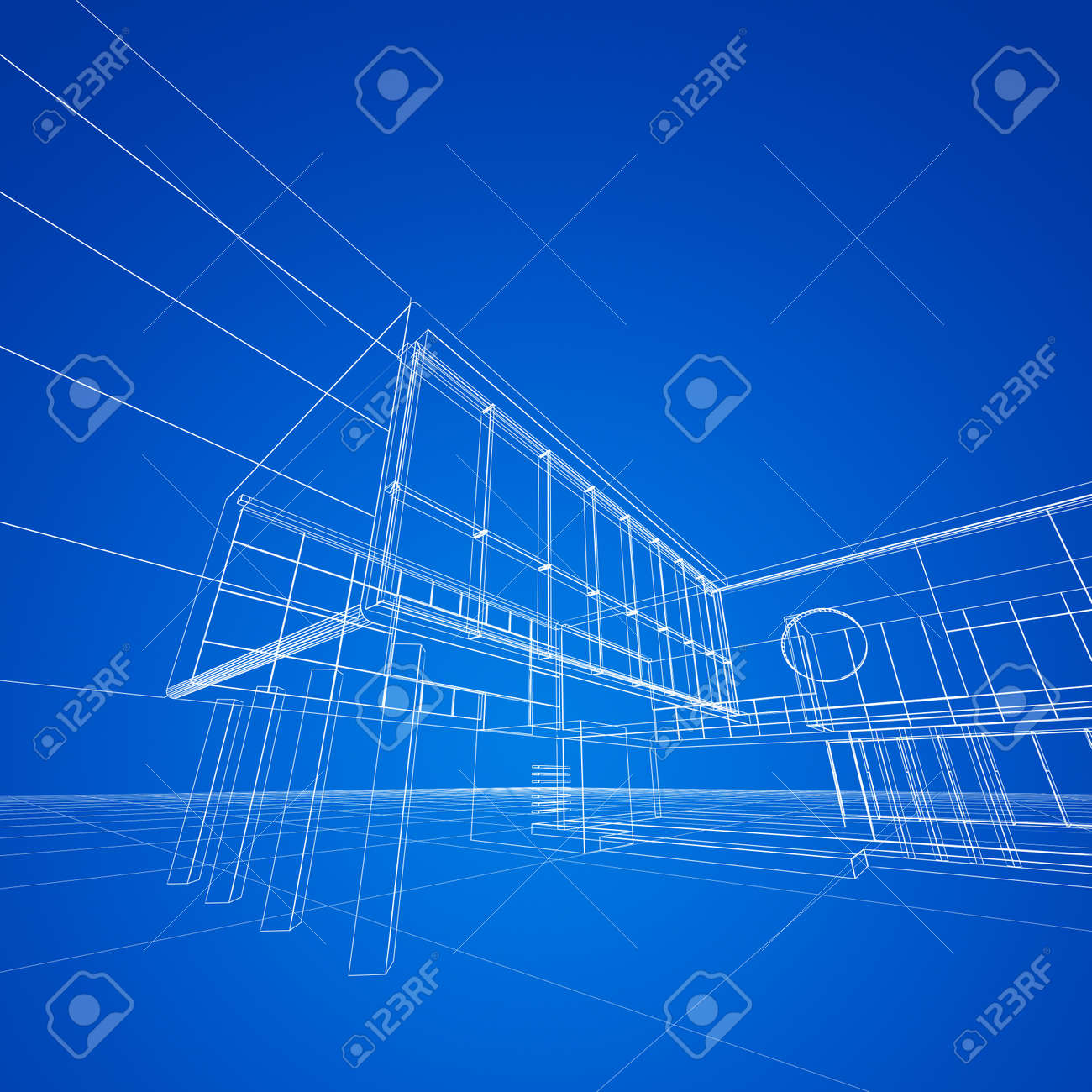 Construction blueprint on blue my design and 3d model stock photo construction blueprint on blue my design and 3d model stock photo 17900854 malvernweather Gallery
