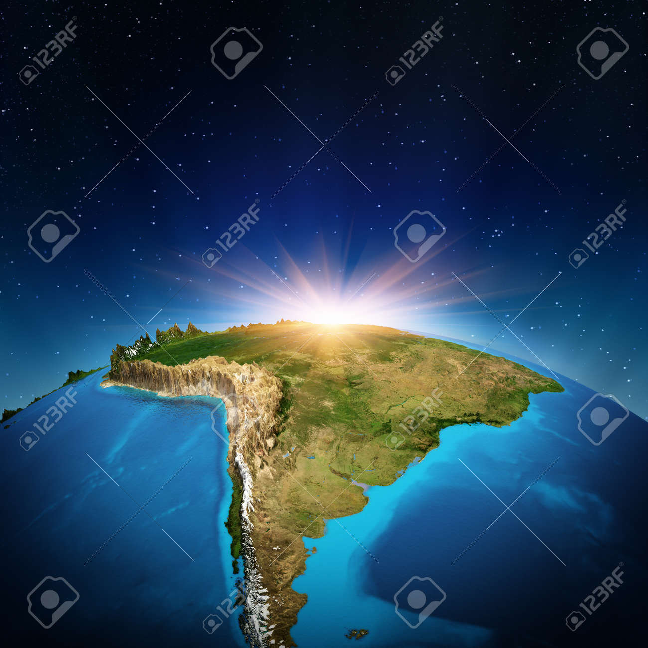South America From Space Stock Photo Picture And Royalty Free - South america relief map peru