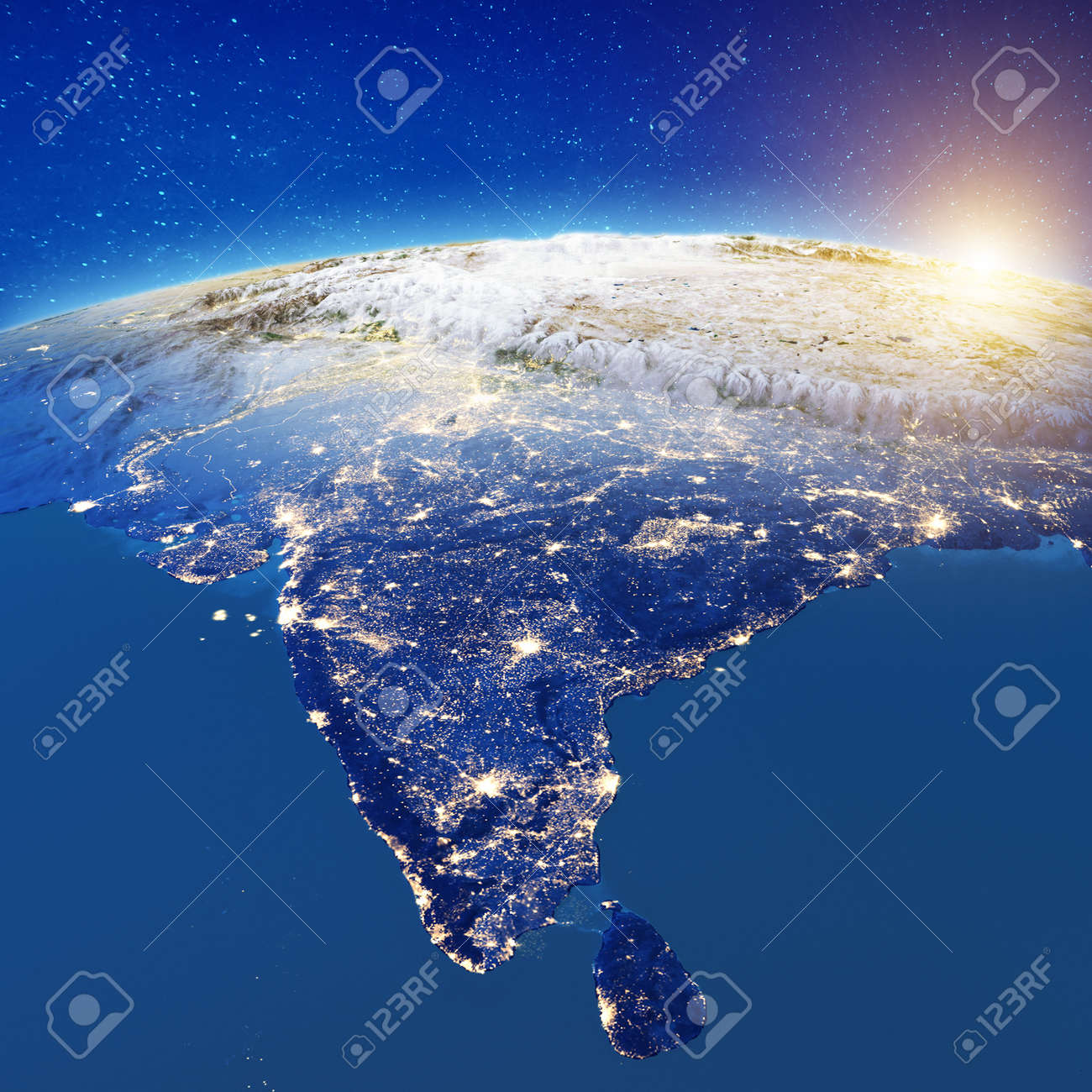 India from space. 3d rendering - 120372142