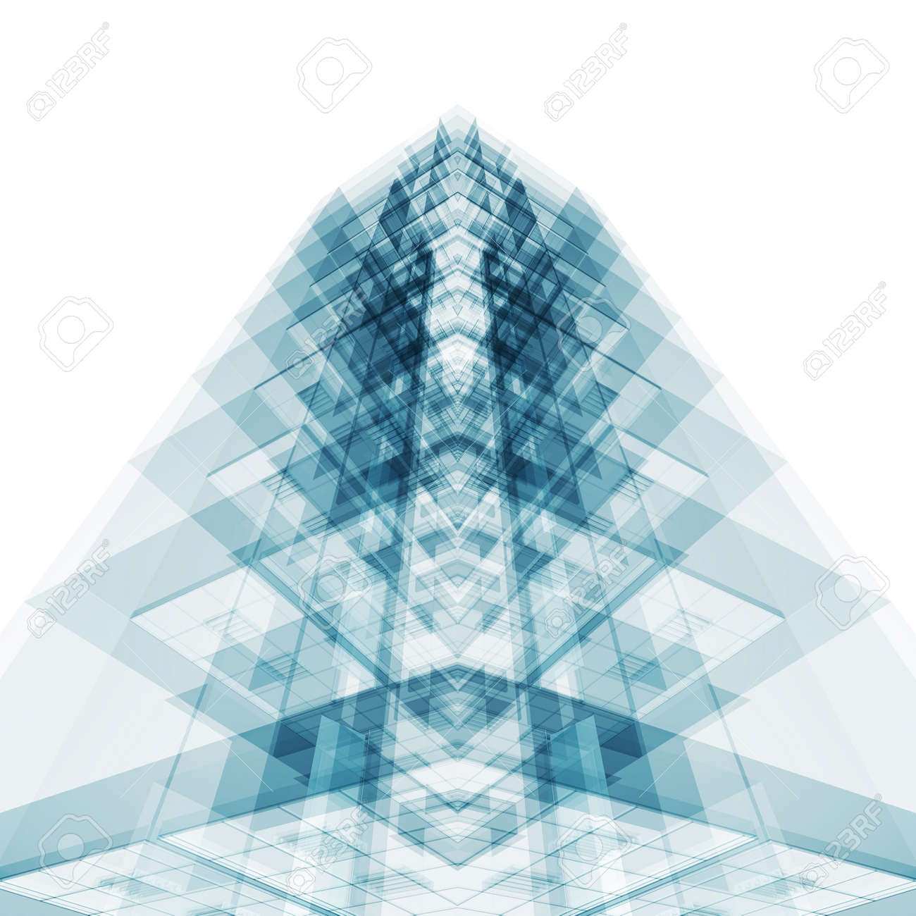 Abstract architecture concept. White isolated. 3d rendering - 135228976