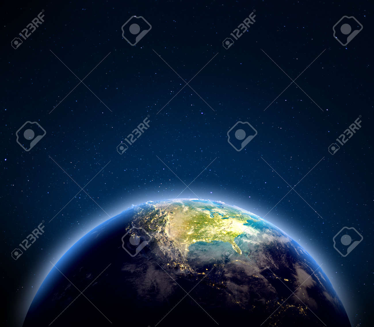 USA from space. 3d rendering - 137147988