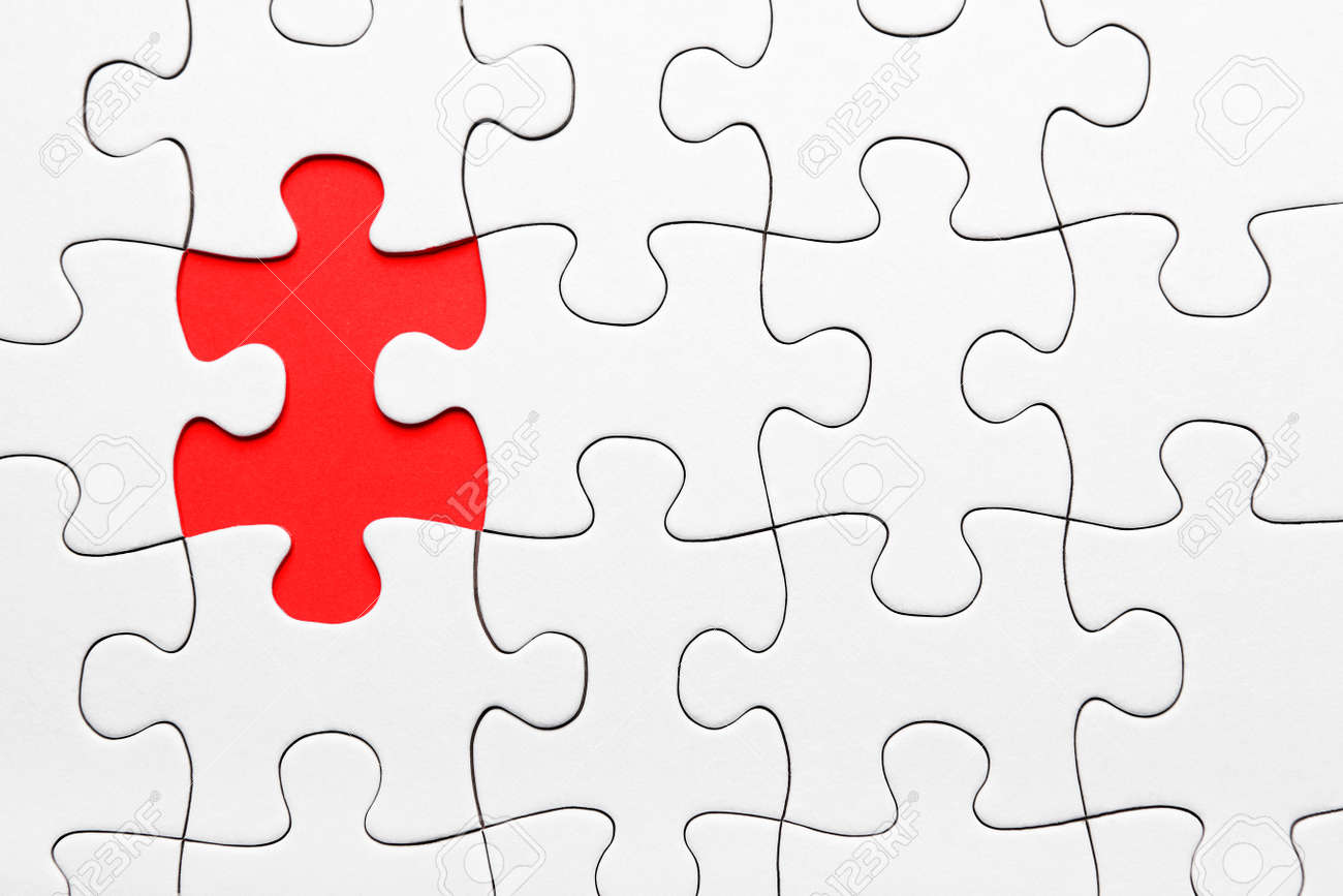 Red Puzzle Piece Missing On White Background Stock Photo Picture And Royalty Free Image Image 27736100