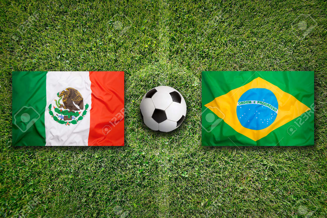 Mexico Vs Brazil Flags On Green Soccer Field Stock Photo Picture