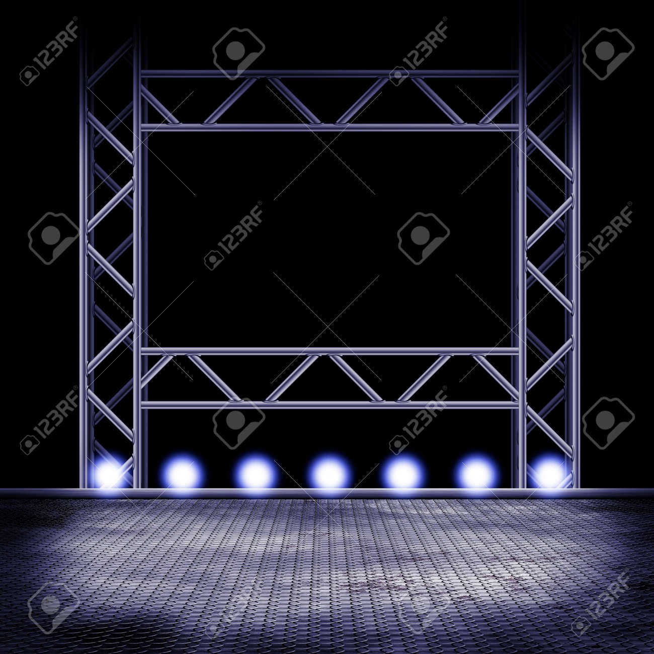 Illustration Of A Empty Stage With Lights Stock Photo Picture And