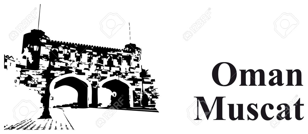 vector illustration of the city gate in muscat oman and text rh 123rf com Cartoon Gate Gate White Background