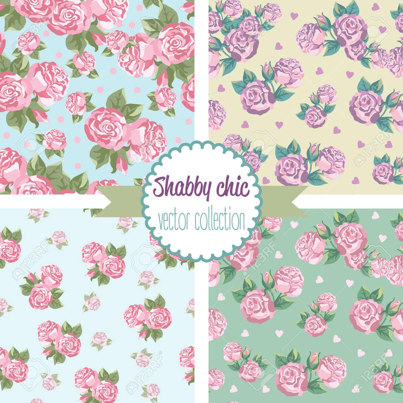 Shabby Chic Rose Patterns. Set seamless pattern. Vintage floral pattern, backgrounds. Vector illustration - 52022480