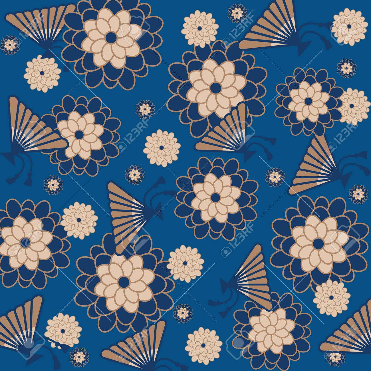 Japanese Floral Background Vector Illustration Royalty Free