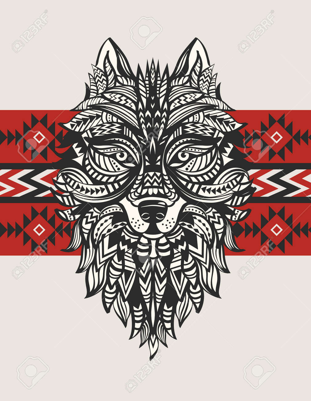 Ethnic totem of a wolf. Indian wolf. A tattoo of a wolf with an ornament. Hand Drawn vector illustration - 53458050