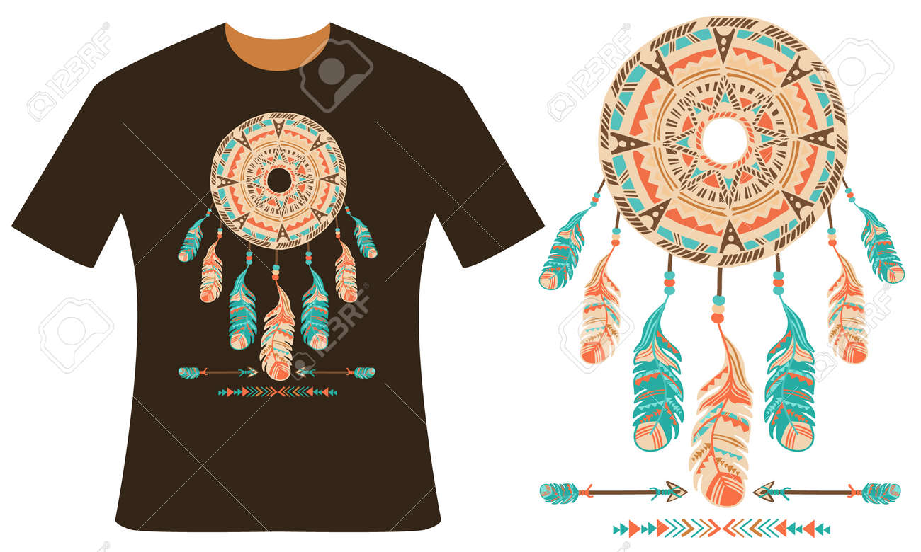 Design your t shirt for free - Design For Your T Shirt Dreamcatcher Feathers And Arrows Style Boho