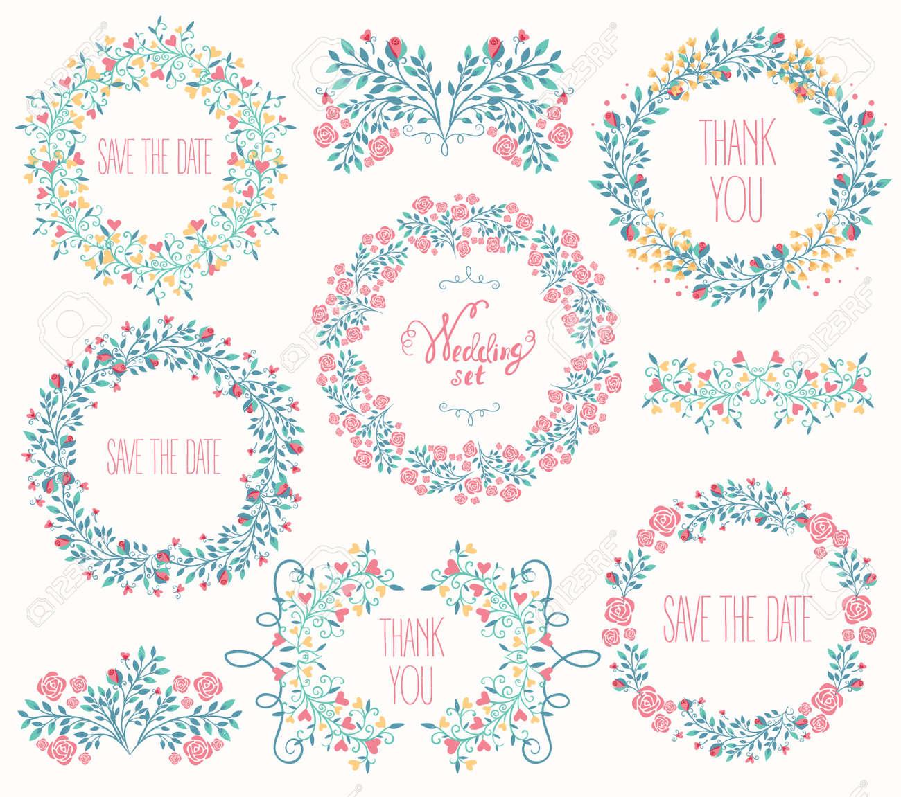 Floral Frame Collection. Wedding set flowers, wreaths. Vector illustration - 53458074