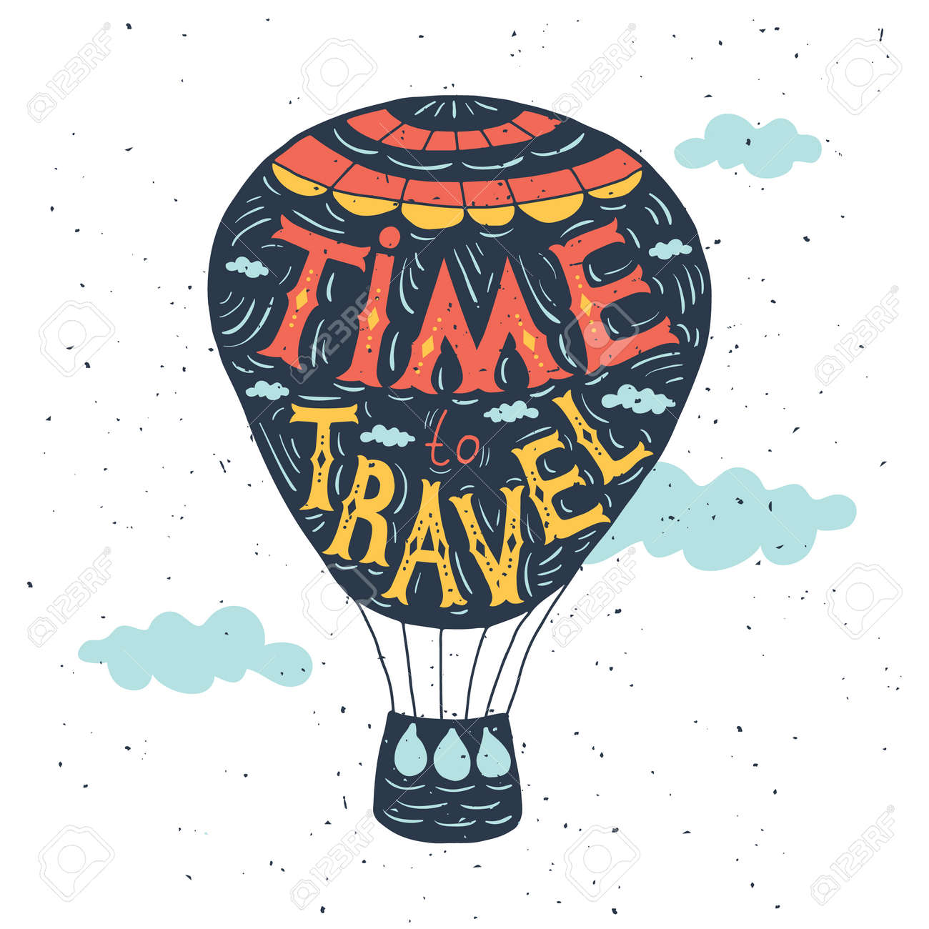 Typography Poster Quote On The Air Balloon Time To Travel