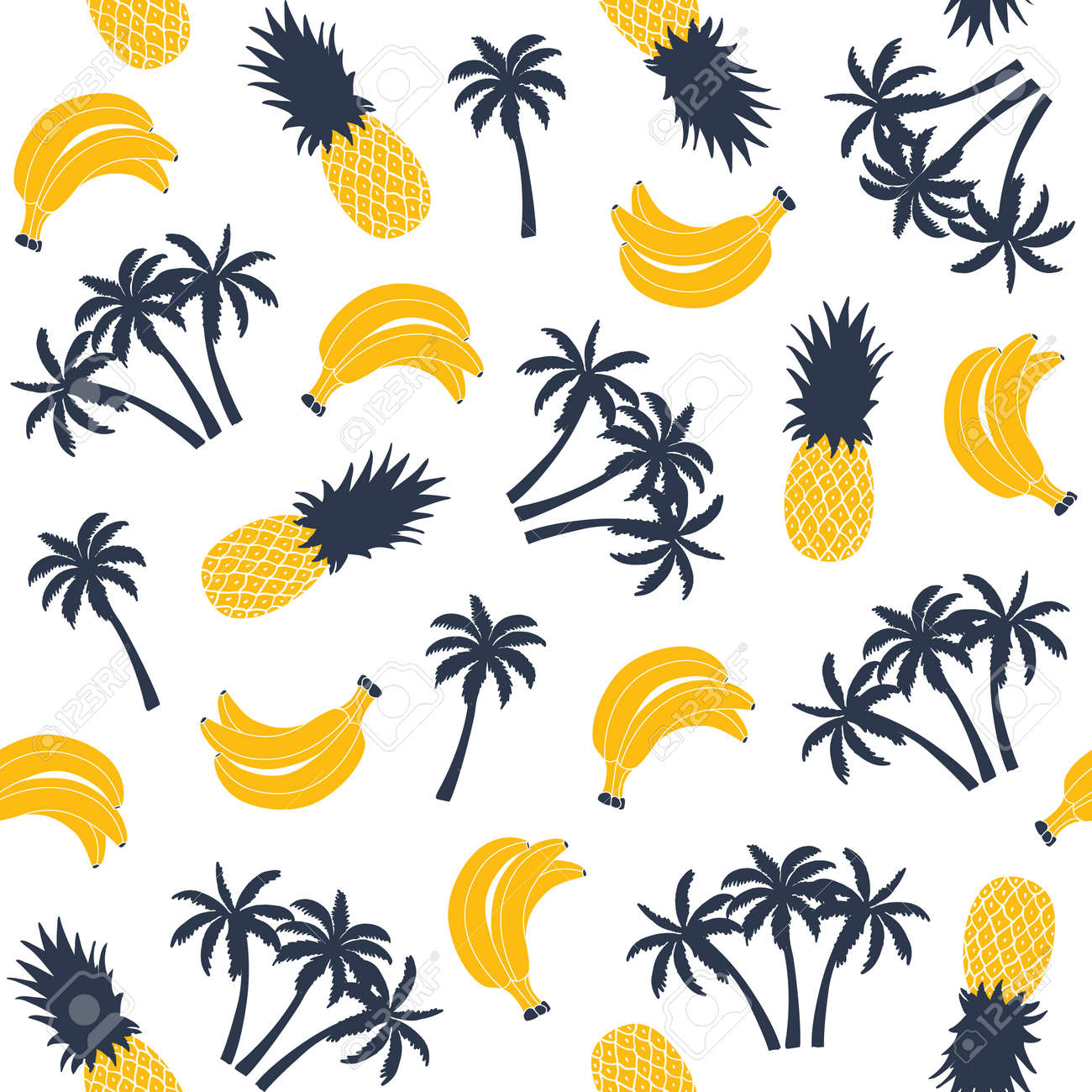 Palm tree with banana and pineapple, seamless pattern. Vector illustration - 55756568