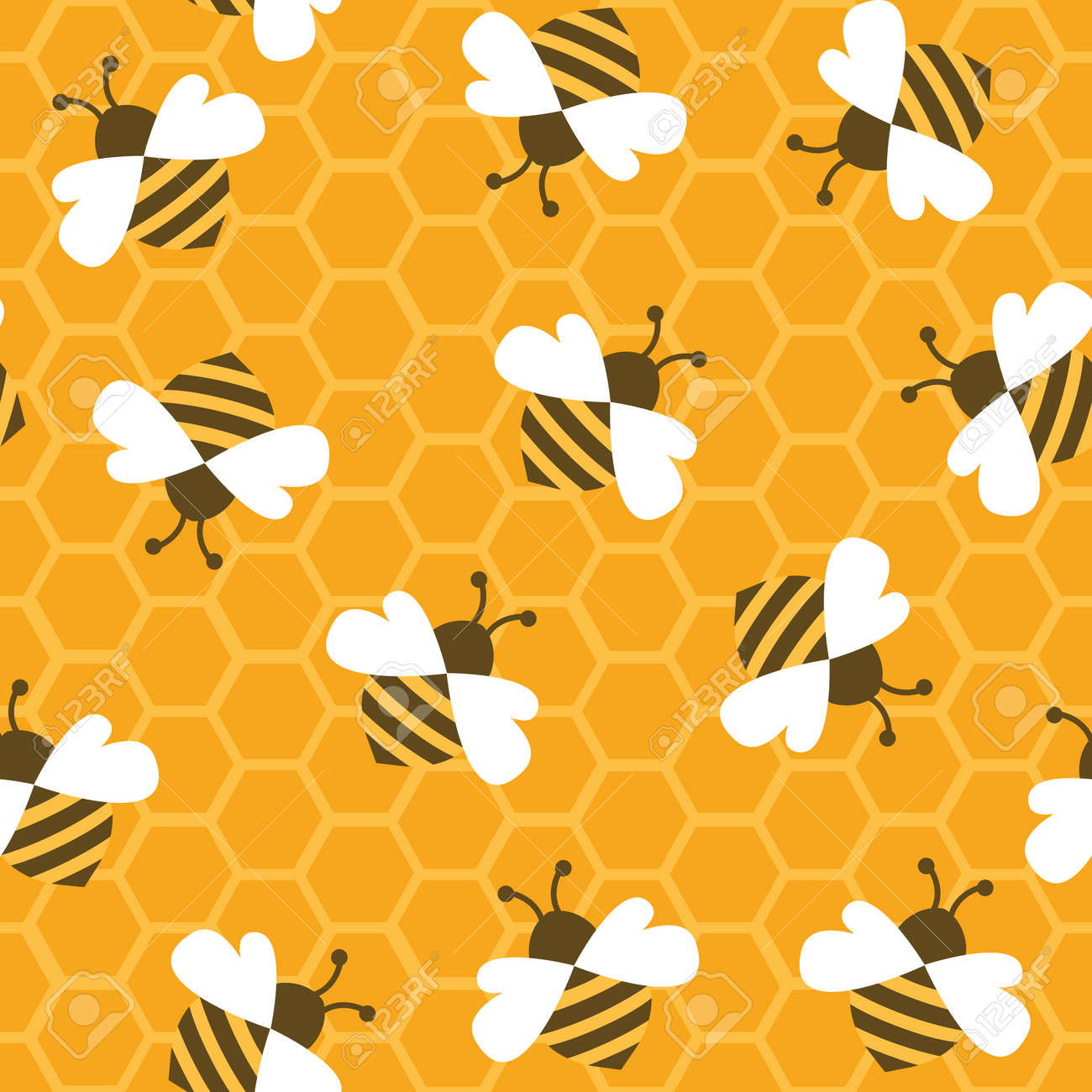 Bee with honey. Seamless pattern. Vector illustration. - 57191896