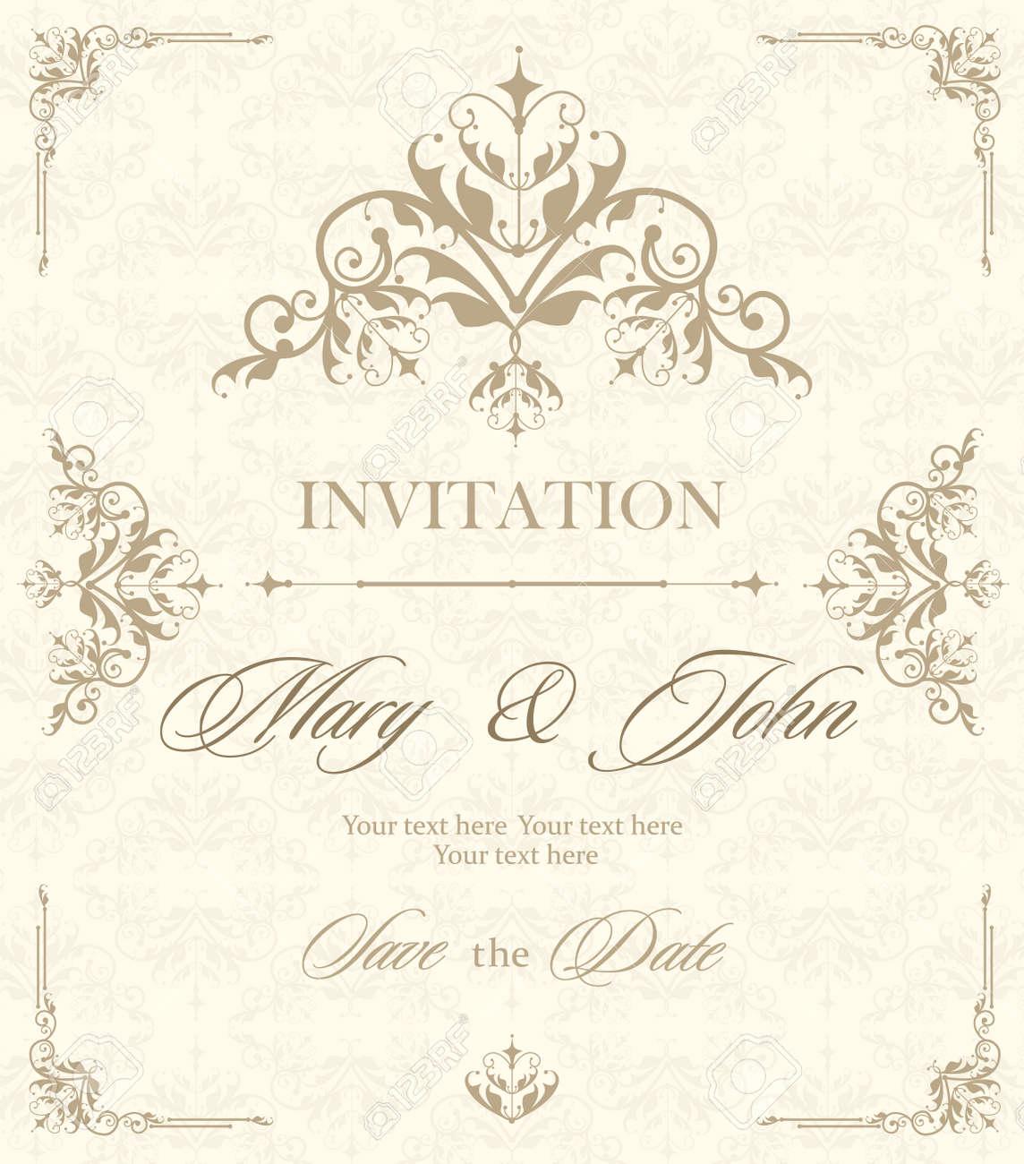 Tarjeta De Invitación Vintage De Boda Con Elementos Decorativos Florales Y Antiguos Ilustración