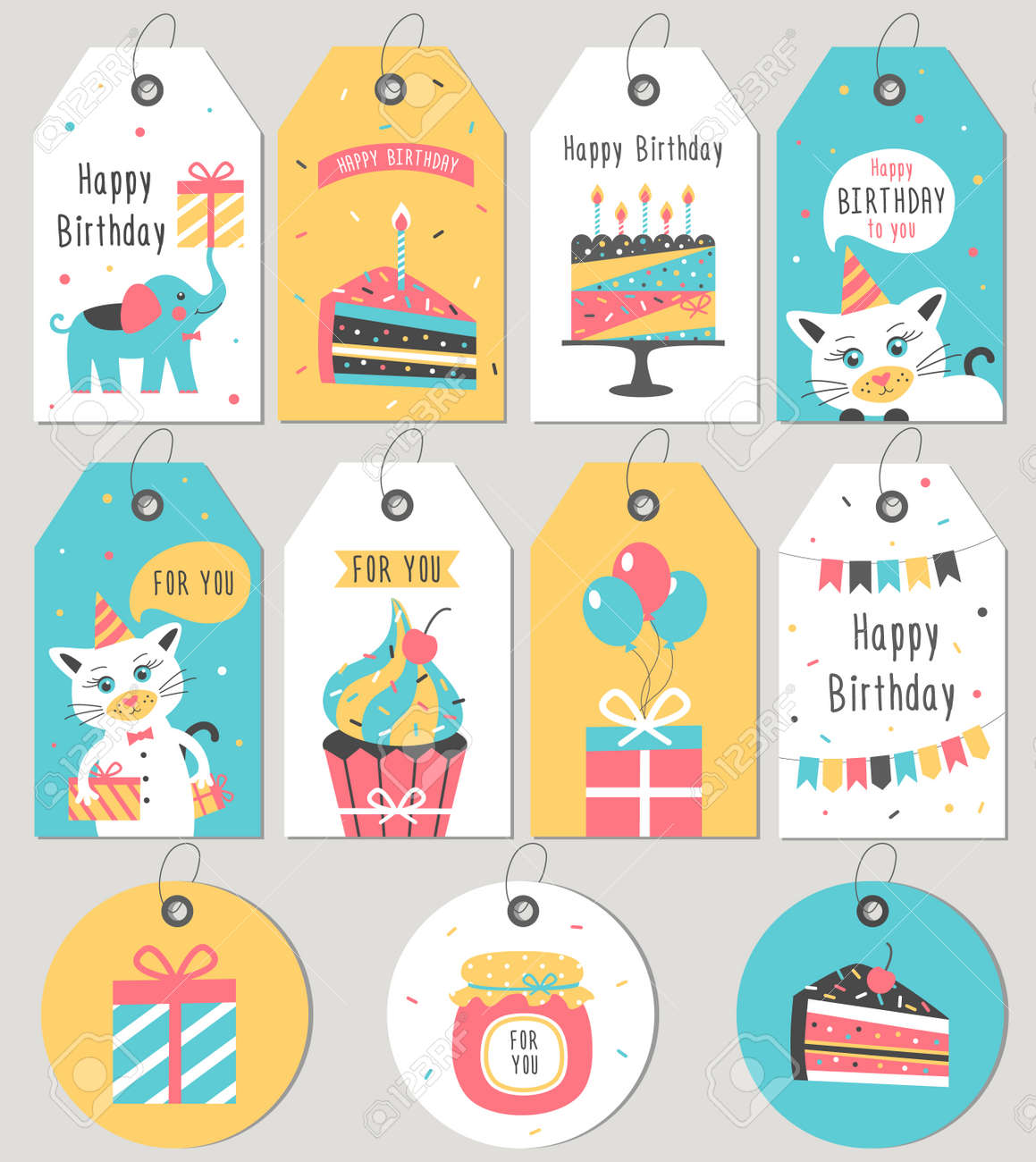 Set Of Happy Birthday Gift Tags And Cards Vector Illustration Stock